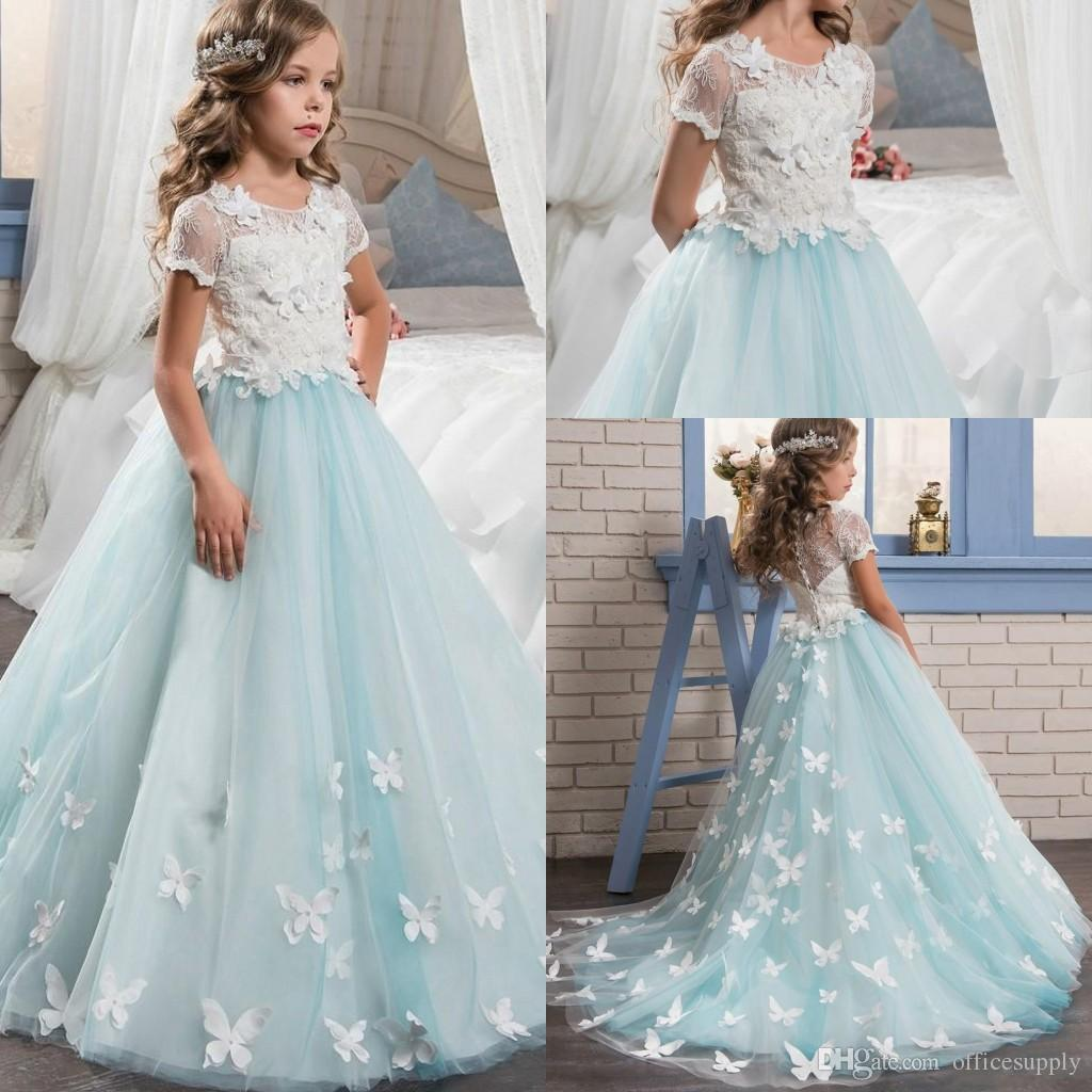 2017 Short Sleeves Pretty Lace Girls Pageant Dresses For Teens With ...