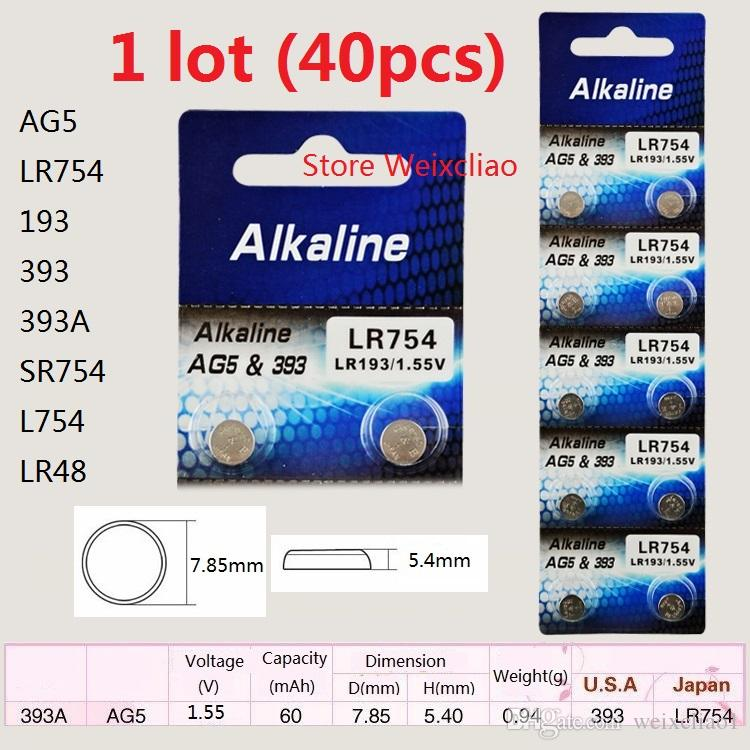 40pcs 1 lot AG5 LR754 193 393 393A SR754 L754 LR48 1.55V alkaline button cell battery coin batteries Free Shipping