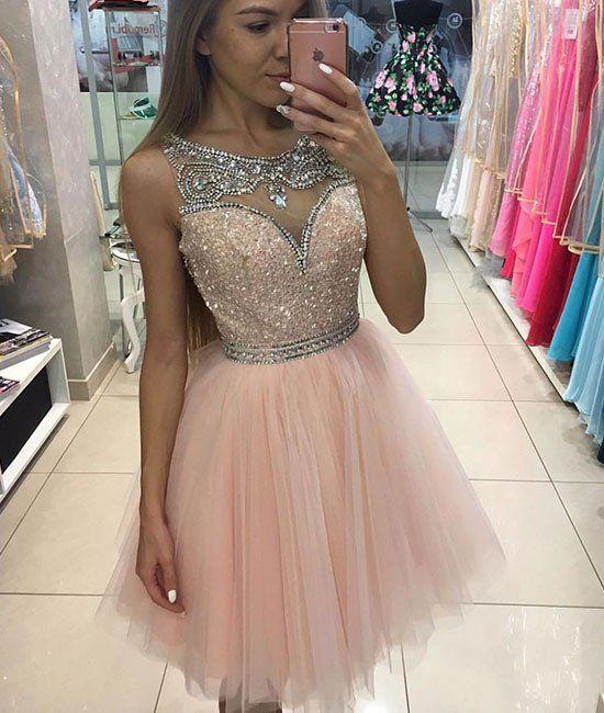 d286d8d0e Compre Sparkly Corto Homecoming Vestidos Para Los Jóvenes 2017 Joya Cuello  Rebordeado Cristal Sin Mangas Tul Vestido De Fiesta Se Ruboriza Rosa  Vestido De ...