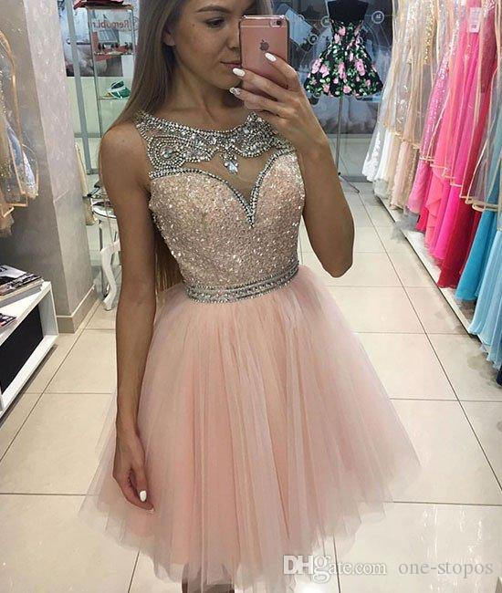 fc0aa3b7903 Vestidos Sociais Sparkly Short Homecoming Vestidos Para Juniors 2017 Jewel  Neckline Beaded Crystal Mangas Tulle Prom Vestido Blush Pink Cocktail Party  Gown ...