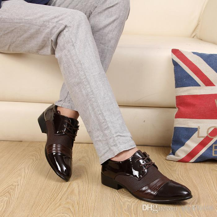 2017 HOT Big US size 6.5-11 man dress shoe Flat Shoes Luxury Men's Business Oxfords Casual Shoe Black / Brown Leather Derby Shoes