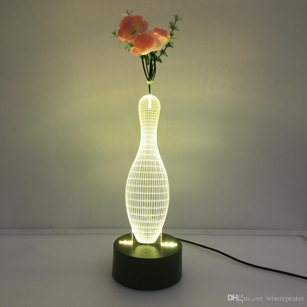 3D Blowling Pin Illusion Lampen-Nachtlicht mit Blumen DC 5V USB-Lade 5. Batterie Großhandelsdropshipping Freies Verschiffen Kleinkasten