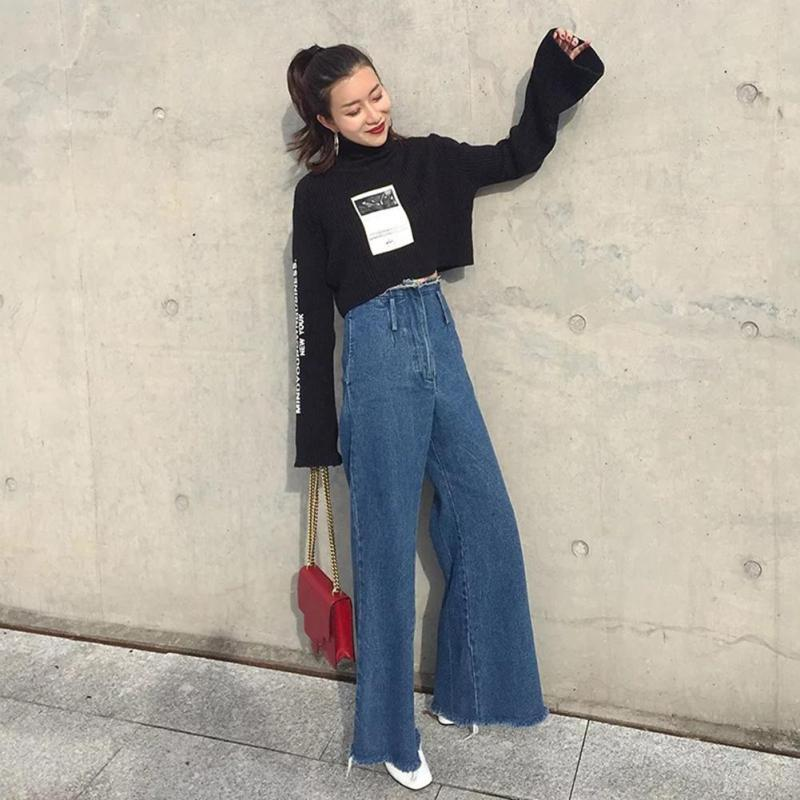 2019 Wholesale Wide Leg Jeans 2017 BF Women High Waist Tassel Denim Pants  Jeans Pants Full Length Trousers Pantalones Mujer Boyfriend Jeans X50 From  Tielian ... 1b9a202dc65d