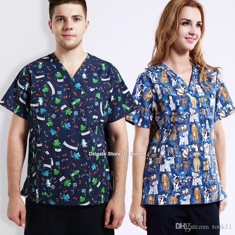 15db608e16e Women men hospital clinic doctor workwear scrub set pet print medical robe  clothes dental beauty medical clothing nurse uniform top + pants