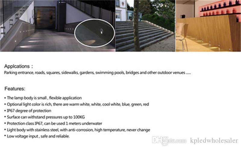 1W led Ground Footlight Wall Plinth Recessed stair step light waterproof Ip 67 Night lamp Porch Lamps with IP67 CE drivers