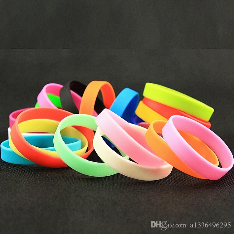 Brand New silicone wristbands Bracelets sports Stretch wholesale colors mens and womens harmless fashion jewelry