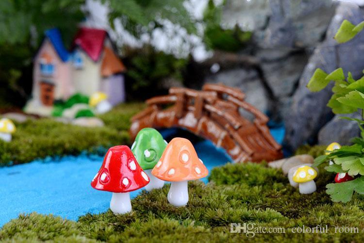 artificial colorful Mushrooms fairy garden miniatures gnome moss terrarium decor resin crafts bonsai home decor for DIY Zakka