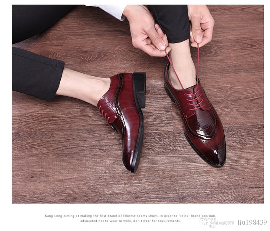 Bullock classic business casual dress shoes trendy pointed embossed pattern with non-slip rubber sole rough with men's shoes