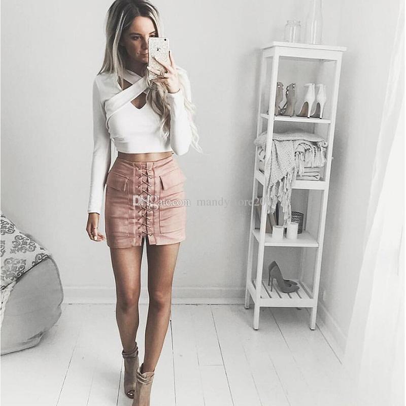 Mode Femmes Filles Faux Daim Cuir De Fourrure BodyCon Mince Mini Jupes Au-dessus Du Genou Robes Taille Haute Livraison Gratuite