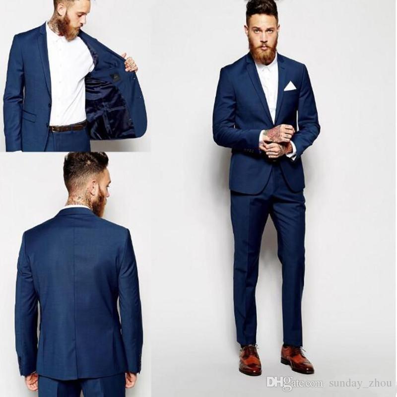 Chegada nova Noivo Smoking Padrinhos de Groomsmen Azul Escuro Ternos para homens  Melhor Homem Terno de Casamento Ternos dos homens Noivo Noivo Desgaste ... 0786b168e3a