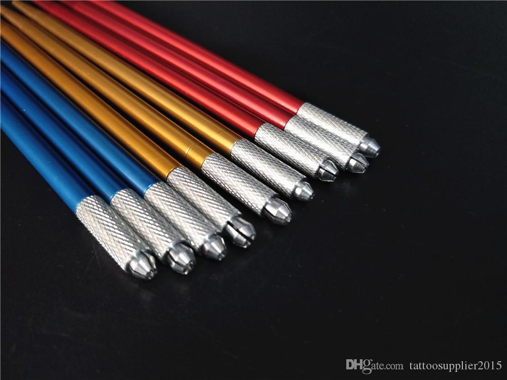 10 stücke ermanent Make-Up Microblading Stift für 3D Augenbrauen Schönheit Tattoo Nadel Klinge Manuelle Stift für Runde Nadeln Mix Farbe
