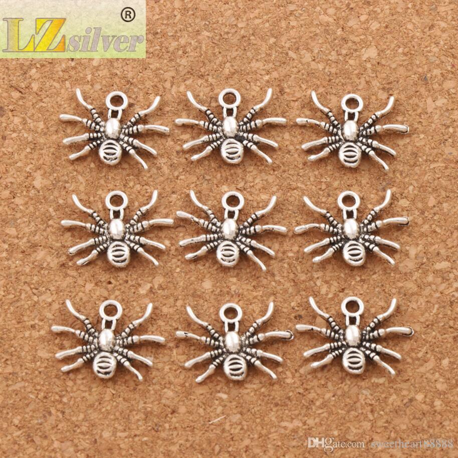 Rastreo 3D Spider insecto Beads Beads 200 unids / lote 19.3x15mm Plata Antigua Colgantes de Joyería de Moda DIY Fit Pulseras Collar Pendientes L037