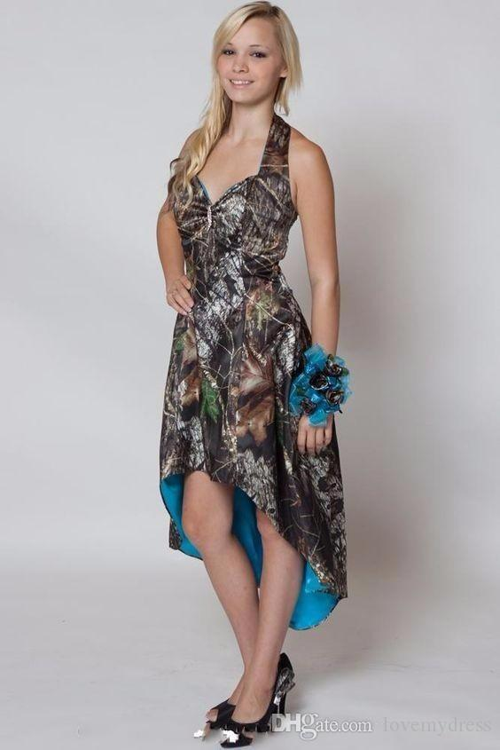 Sıcak Satış Halter Boyun Gelinlik Modelleri Yüksek Düşük Ucuz Kıyafeti Parti Aşınma SHort Homecoming Kolsuz Lace Up Geri Camo Elbiseler Seksi ...