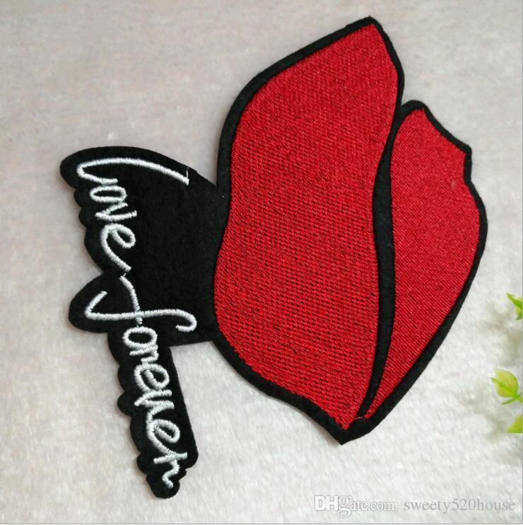 Embroidered iron on patches for clothing Red sequins Lips DIY Motif AppliqueLD