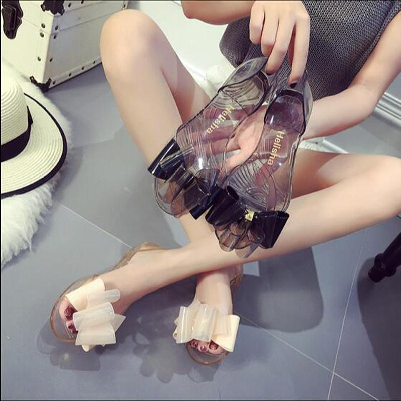 8c67a60962d5 New Summer Big Flower Bow Flat Bottom Sandals Female Sandals Crystal  Plastic Jelly Sandals Lady S Beach Slippers Wedding Shoes Wedges From  Dqhome