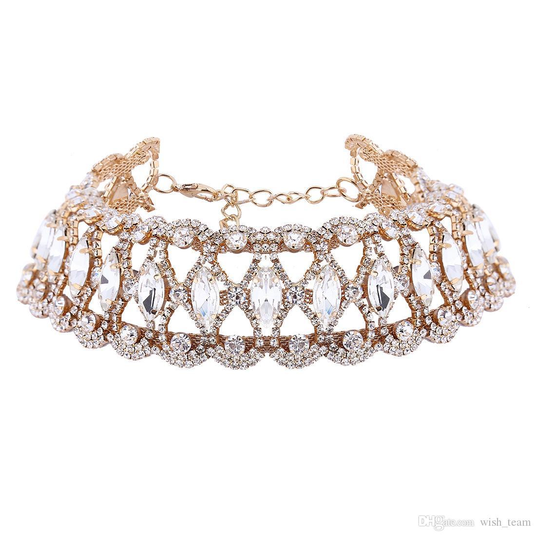 Gargantilla grande de diamantes de imitación de la moda Collar de declaración de cristal Mujeres Chockers Collar fornido Collier Joyería de la boda