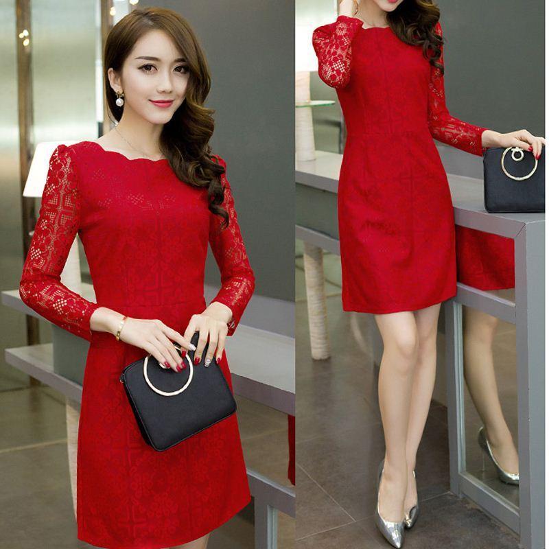 Großhandel Ladies Elegantes Rotes Weißes Schwarzes Herbstkleid ...
