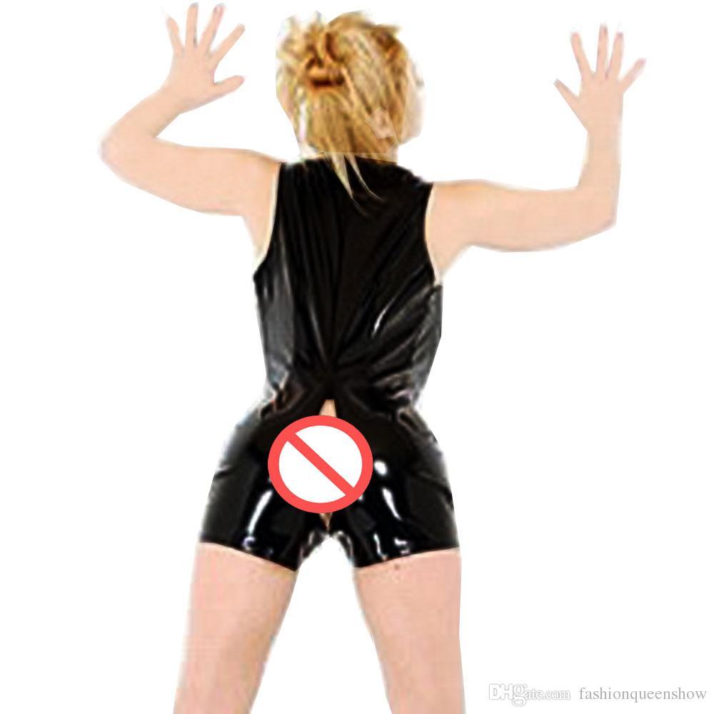 Noir Brillant Femmes PVC Catsuit Sexy 2 Voies Zipper Body Sans Manches Jumpsuit Clubwear Pole Dance Outfit Taille S-XXL