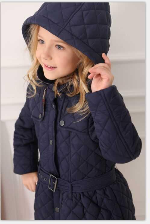 Girls Winter Coat Shaped Quilted Single Breasted Trench Coat ...