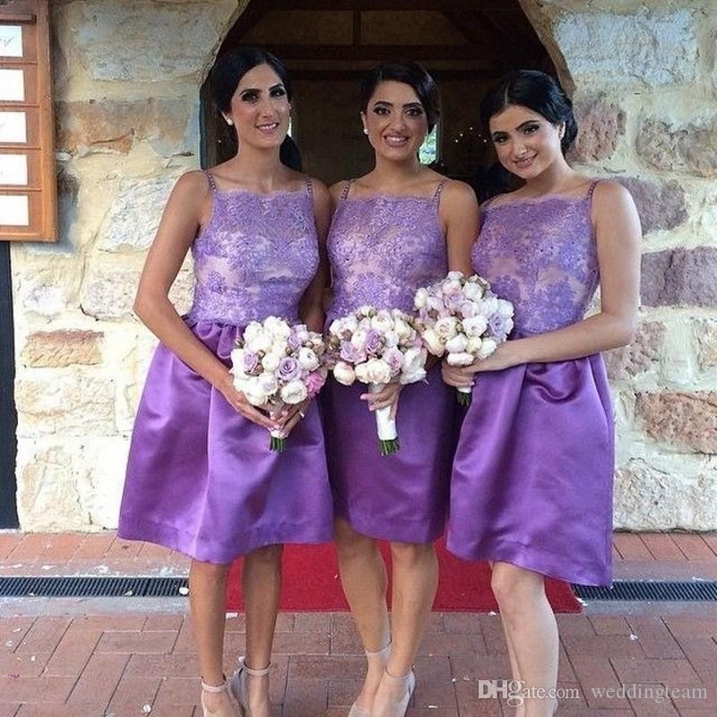 New Arrival Purple Knee Length Country Bridesmaid Dresses Spaghetti Strap Lace Appliques A Line Bridesmaid Party Dress Short Formal Gown