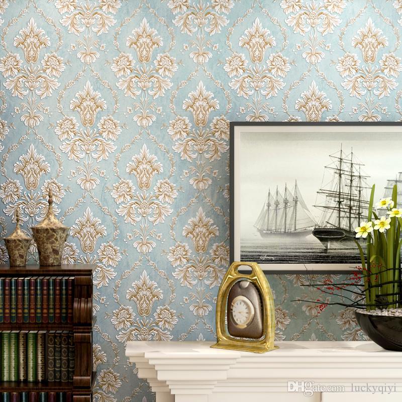 new hot luxury bedroom european wall paper 3d relief relief