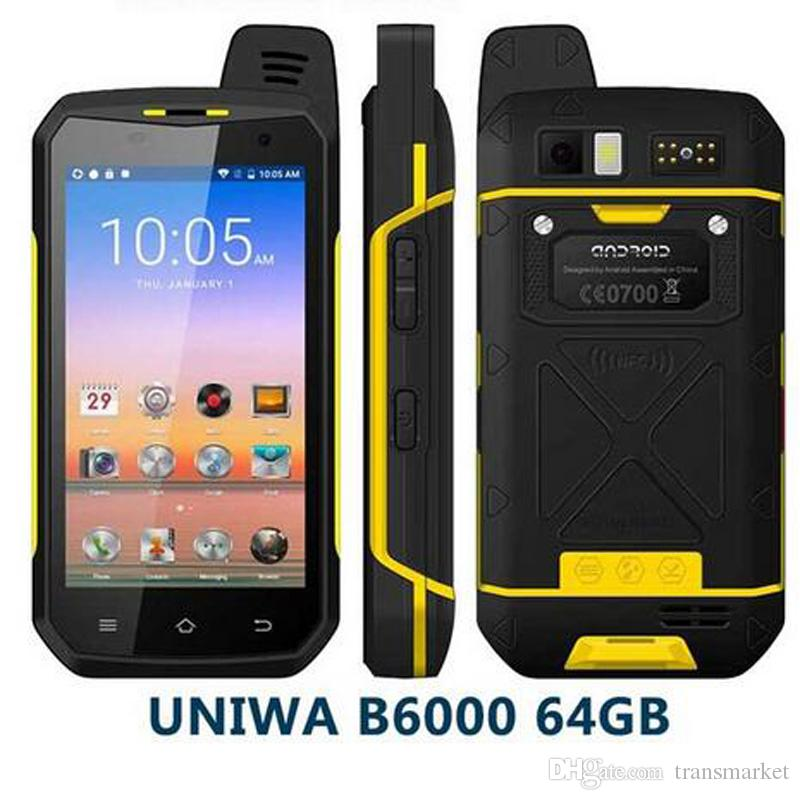 100% New 4G LTE Walkie Talkie phone UNIWA B6000 Octa Core 4GB RAM 64GB ROM 5000mAh NFC Dual Camera Android 6.0 IP68 Waterproof Smartphone
