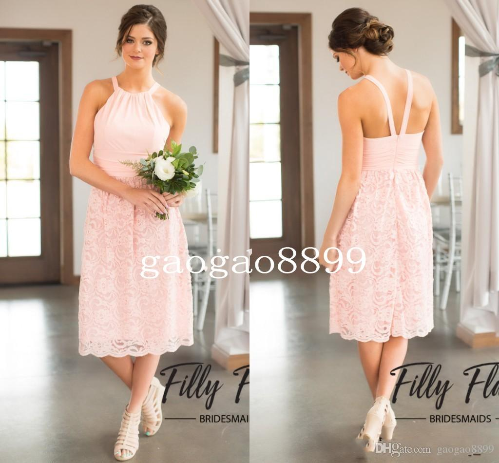 2017 pink lace bridesmaid dresses for country wedding a line hater 2017 pink lace bridesmaid dresses for country wedding a line hater knee length bohemian summer beach wedding party evening dresses bohemian bridesmaid ombrellifo Images