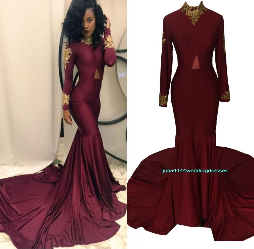 Burgundy Prom Dresses 2017 Real Image Formal Long Sleeve Evening ...
