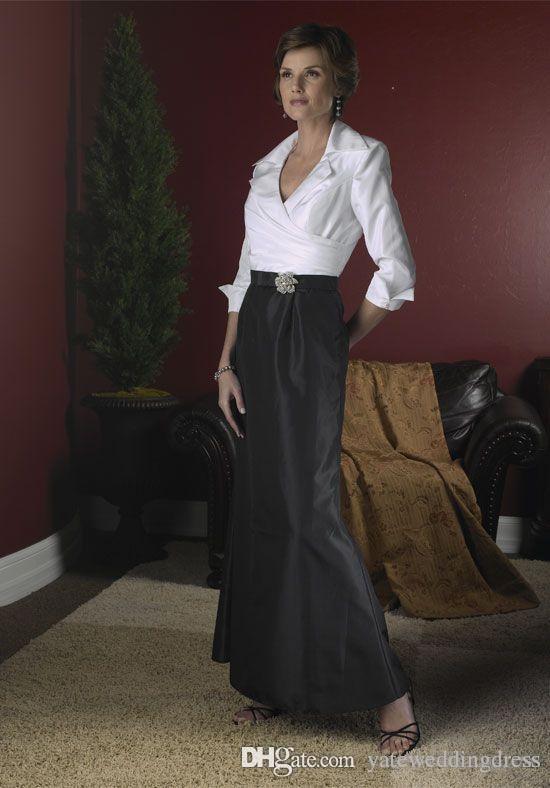 2017 preto e branco elegante mãe da noiva vestidos mangas compridas comprimento de piso tafetá sereia uma linha vestido formal vestido de noite personalizado