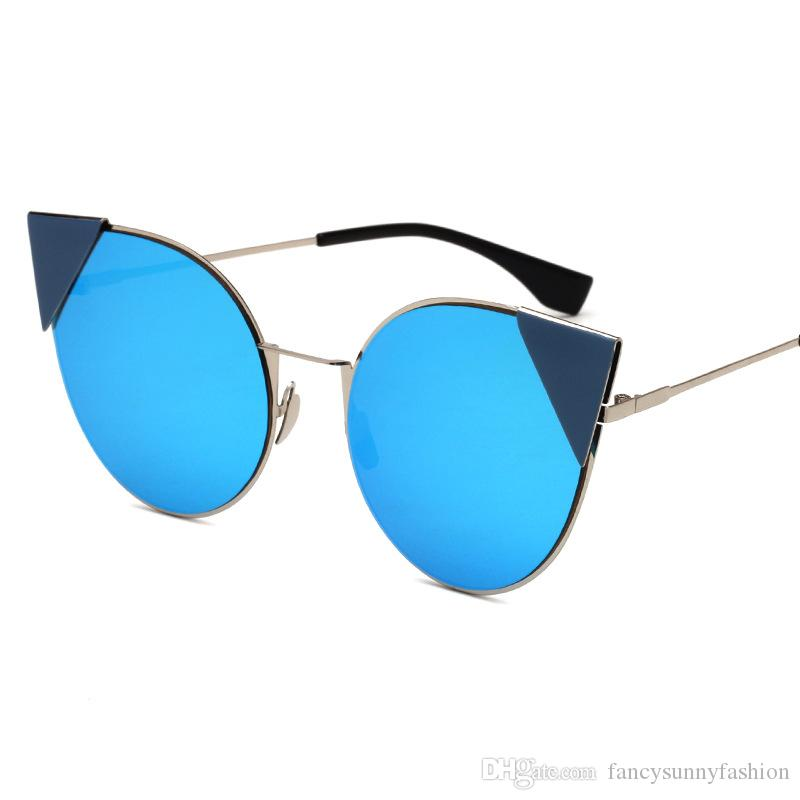6fc5b3194a0 Fashion Sunglasses UV 400 Cat Ear Looks Blue Grey Pink Restro ...