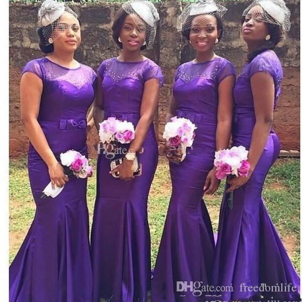 a92bbd9859f New Purple Cheap Beaded Bridesmaid Dresses 2017 Mermaid Short Sleeves Satin  African Traditional Prom Dress With Bow Sash Maid Of Honor Gown Orange ...