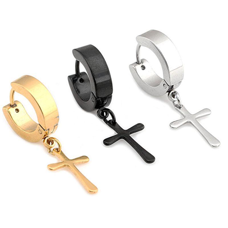 98581690a 2019 Wholesale Trendy Helix Cartilage Cross Hoop Earrings Gold Silver Black  Titanium Stainless Steel Earrings For Men Punk Rock Jewelry From Haroln, ...