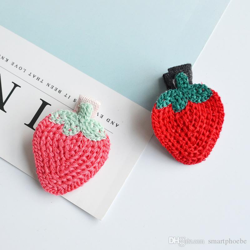 Boutique Fashion Cute Cherry Strawberry Cupcake Bird Bear Hairpins Solid Crochet Animal Fruit Hair Clips Princess Headware