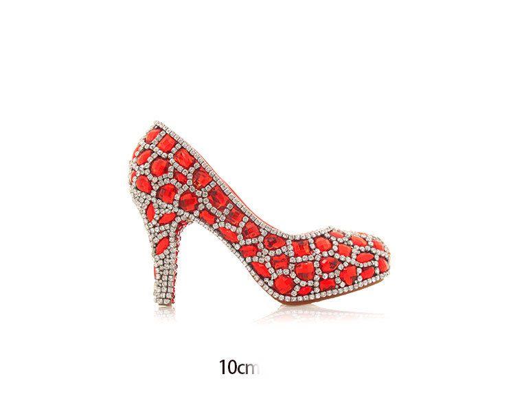 Luxury Red Gems Women High Heels Crystals Cinderella Shoes Wedding Bridal Bridesmaid Shoes Prom Evening Night Club Party Super High Heels