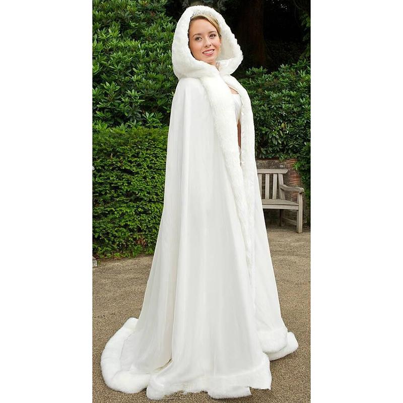 2019 Cheap Winter Bridal Cape Faux Fur Floor Length Hooded Perfect For Winter Wedding Bridal Cloaks