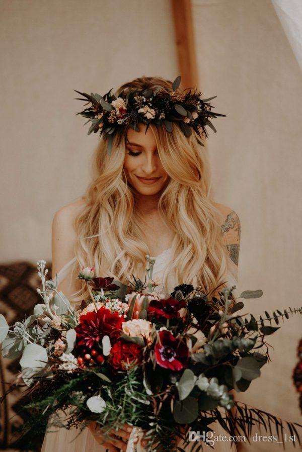 2019 Land böhmischen Brautkleider billig aus der Schulter Elfenbein Spitze und Tüll lange böhmische Brautkleider nach Maß China EN7221