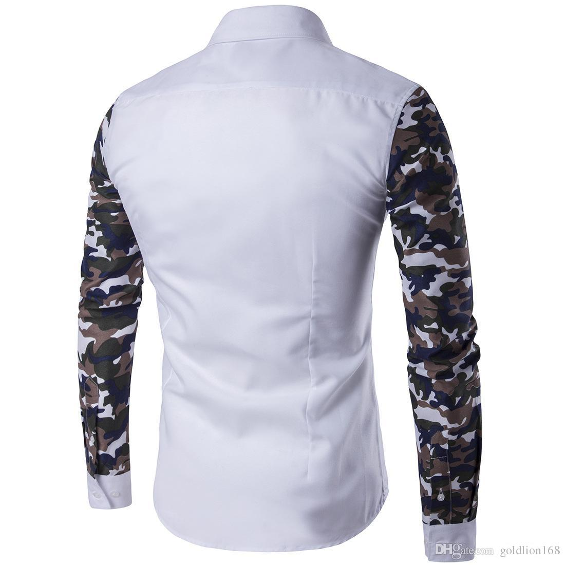 Mens Camouflage Long Sleeve Shirt 2016 Fall Hot Selling Blue White Military Style Contrast Camo Print Casual Shirt