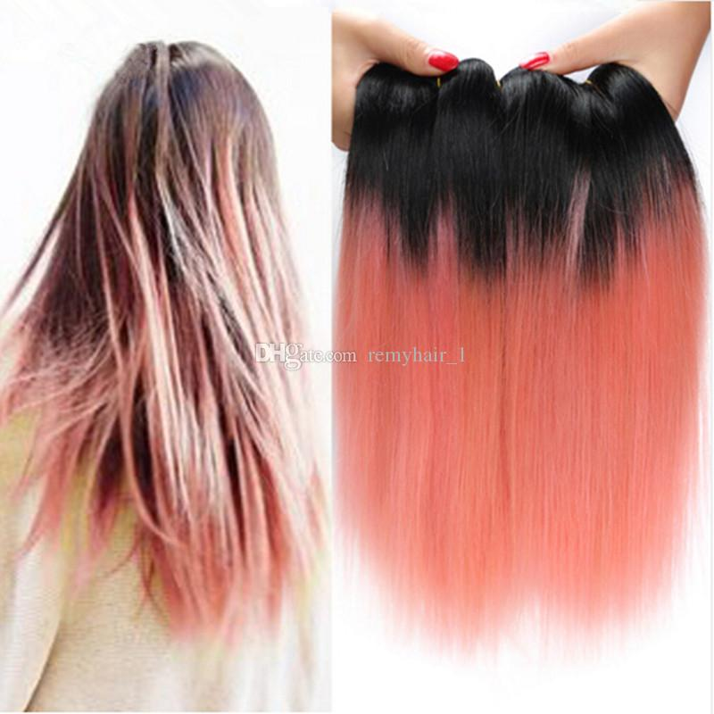 9a Peruvian Ombre Hair Extensions Two Tone 1brose Gold Pink Ombre