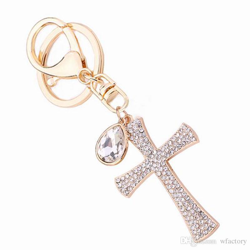 Women S Gift Full Crystal Rhinestone Key Charm Cross Keyring Keychain Car  Decoration Fashion Jewelry Women Bag Accessories Photo Keychain Cute  Keychains ... a7ea0530e2