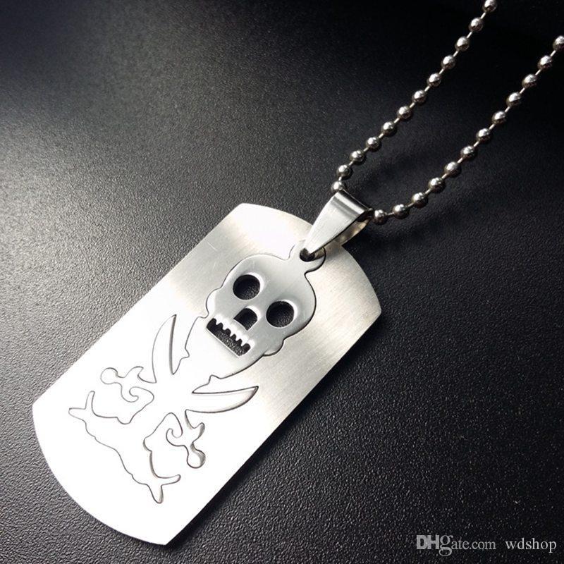 Trendy Dog Tag Gravierte Schädel Anhänger Halskette Mode Edelstahl Pirates Logo Schmuck Freies 50 cm Kugelkette