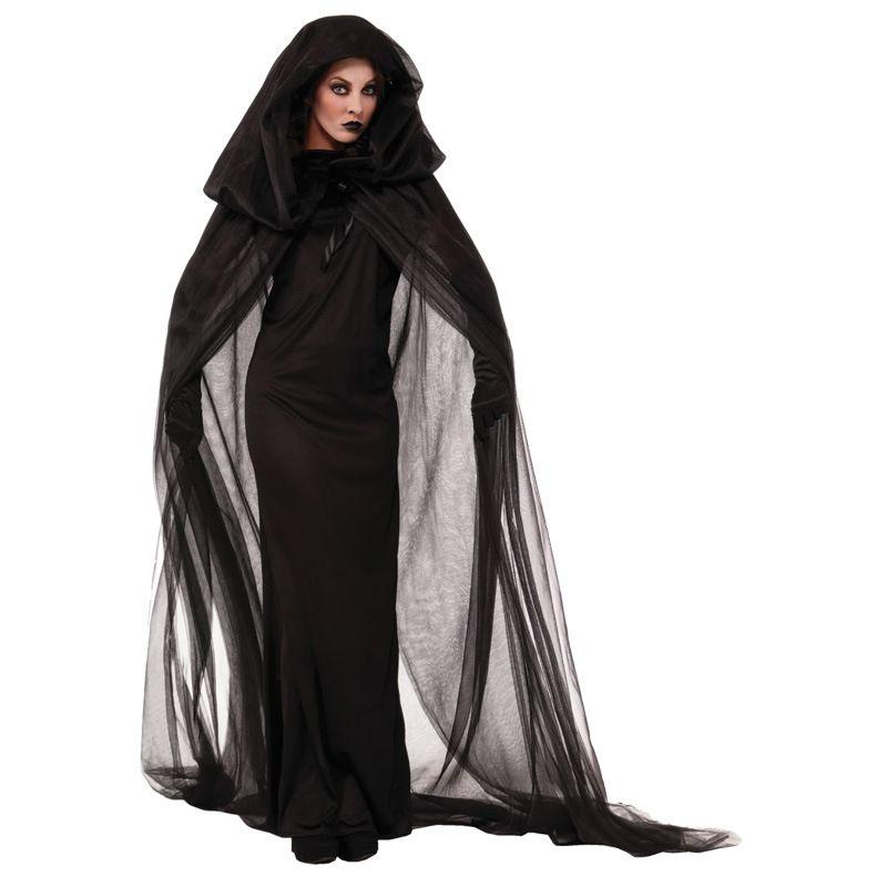 Frau Hexe Cosplay Langes Kleid Kostüm 2017 Halloween Kleidung Frauen Erwachsene Party Halloween Schwarze Hexe Cosplay Kostüm