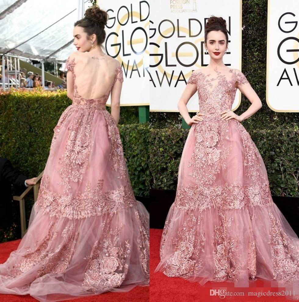 19ee79e2528c7 2017 74th Golden Globe Awards Lily Collins Zuhair Murad Celebrity Evening  Dresses Sheer Backless Pink Lace Appliqued Red Carpet Gowns