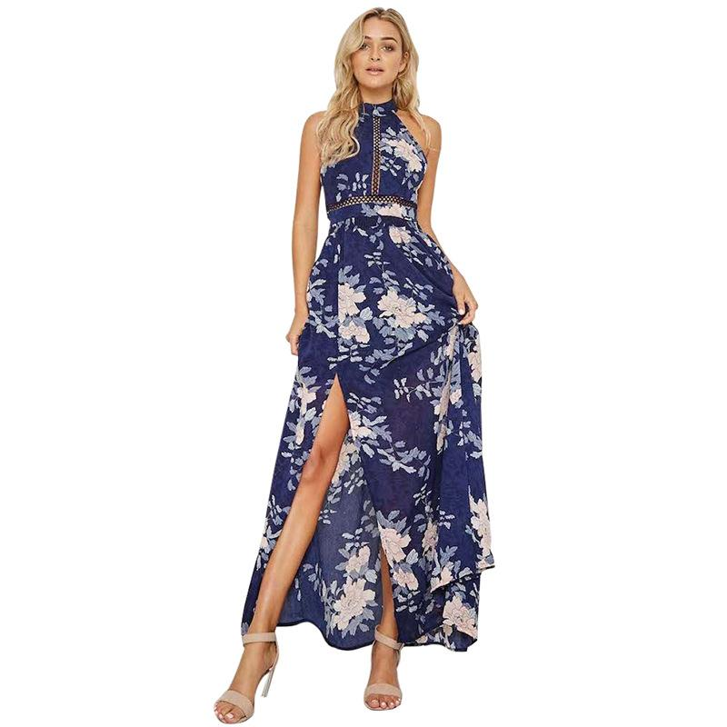 Sexy High Split Maxi Dresses Vintage Printing Bandage Dress Halter  Sleeveless Backless High Waist Party Vestidos Sexy High Split Maxi Dresses  Vintage ... 62c143bd7f9c