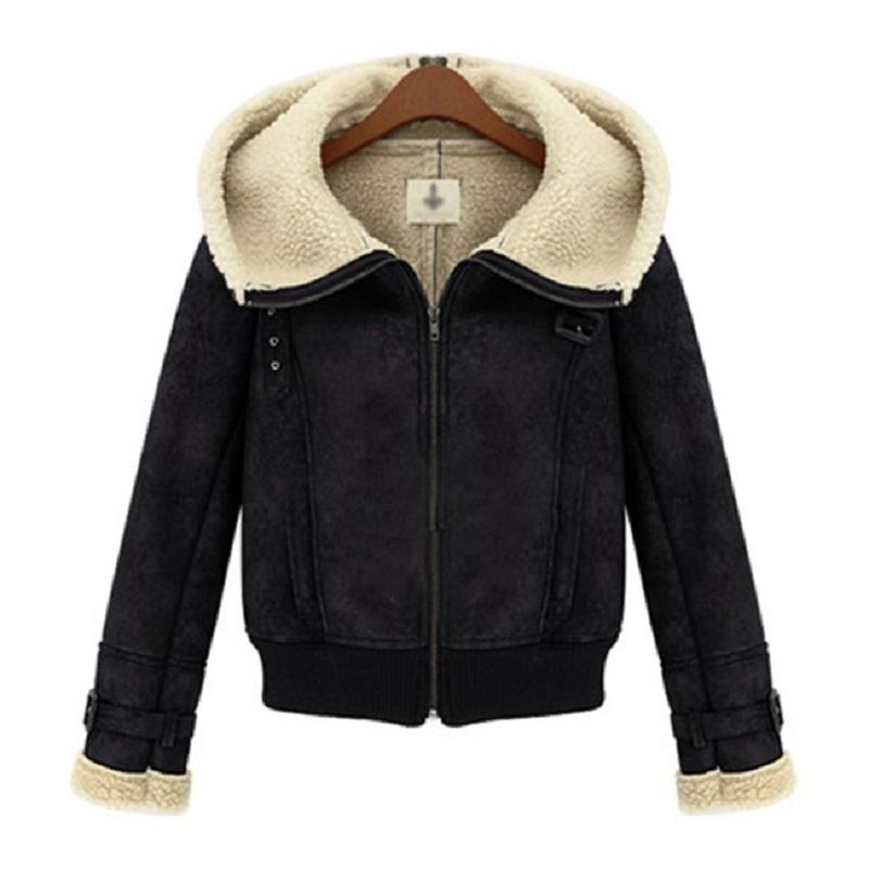 Women Motorcycle Jacket Winter Short Pattern Lamb Wool Fur Inner ...