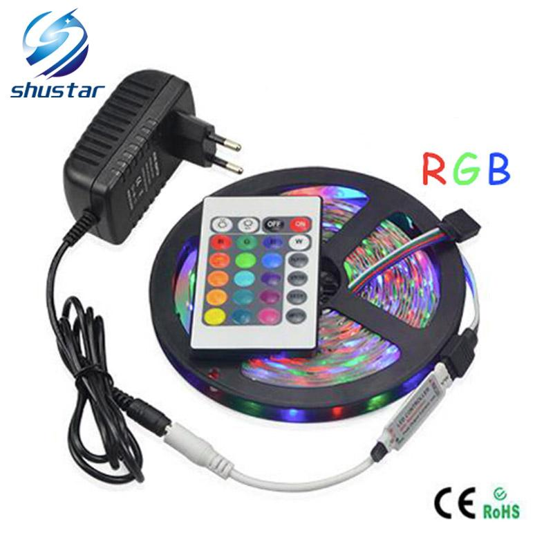 full set Led Flexible Strip 5M SMD3528 RGB 60LED/M strips 24Keys IR Remote  Controller EU US White/Red/RGB/WARM WHITE 2A Power Supply