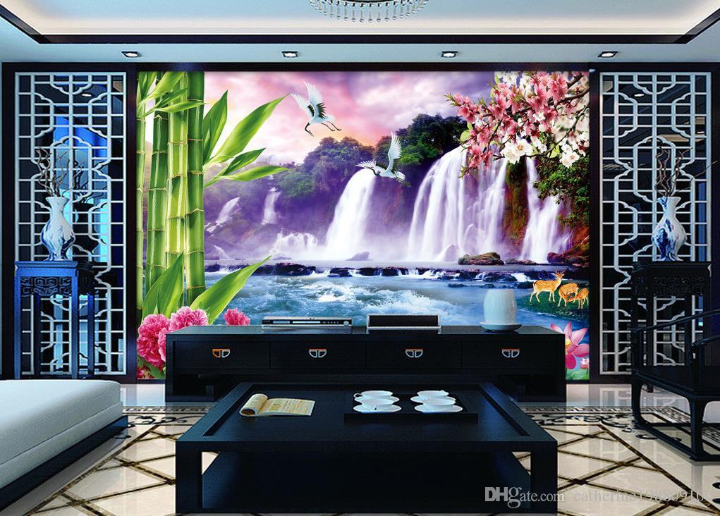 Fresco grande cascata a muro TV murale 3d carta da parati carta da parati 3D la TV sullo sfondo