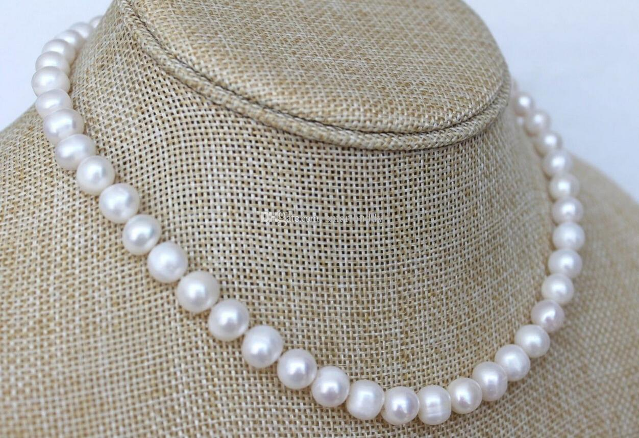Bijoux perles fines Classique 18 pouces Blanc 8-9mm Akoya Collier de perles Fermoir en argent 925