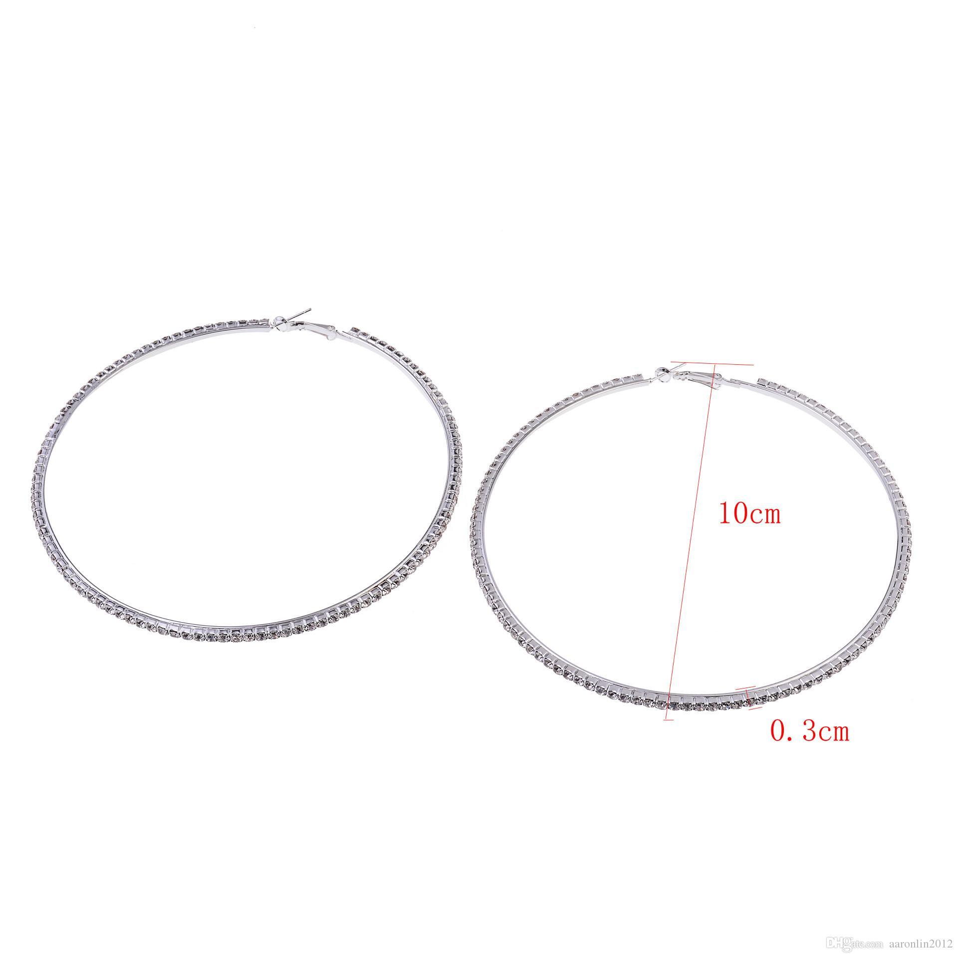 Mujer de marca círculo cristalino del aro pendientes punky de la manera de la joyería del Rhinestone pendiente de oro del club del pendiente pendiente de Hiphop Bijoux 2017