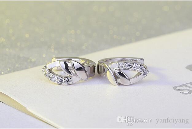 2017 Новое прибытие высокое качество S925 серебро розовое золото серьги для женщин набор с кристаллом E008