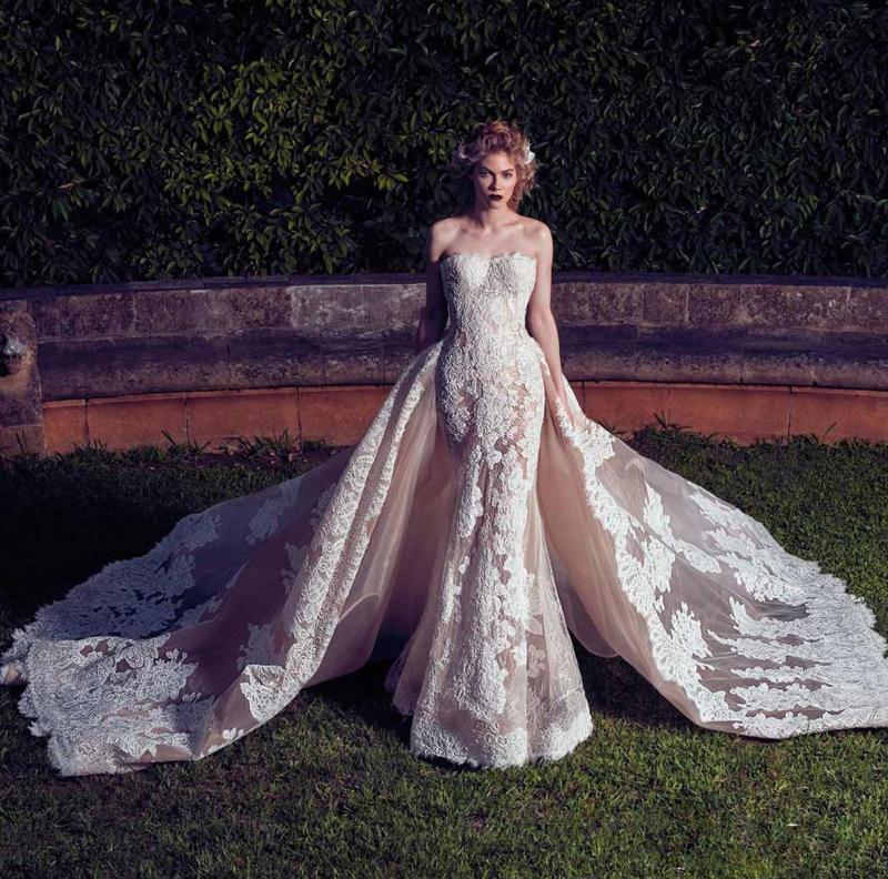 Modest Vintage 2017 Spitze Brautkleider mit abnehmbarer Zug Hülle trägerlos Spitze Appliques Organza Brautkleider Land Hochzeitskleid